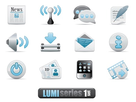 Vector Web Blog Icon Set. Lumi Series. Vector