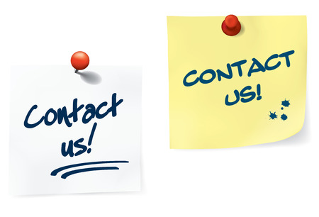 Contact Us Notes Set. Easy To Edit Vector Image. Illustration