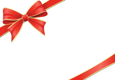 vector ribbons: Red Bow With Ribbons. Vector Decoration Collection. Illustration