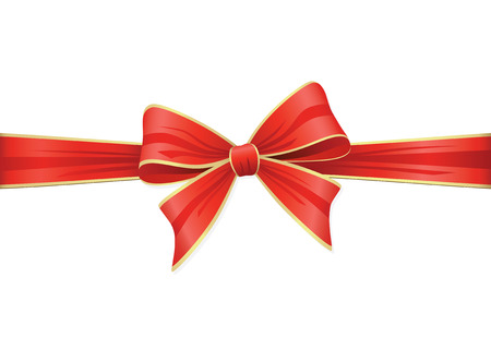 Red Bow With Ribbons. Vector Decoration Collection. Illustration