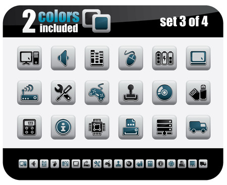 Web Icons Set. Steelo Series. Set 3 of 4. Vector
