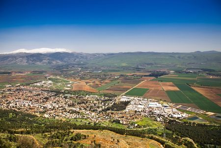syria peace: Hermon Mountain And Golan Heights View. Spring. Israel