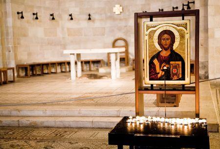 multiplicacion: Tabgha.Church de la multiplicaci�n. Israel Foto de archivo