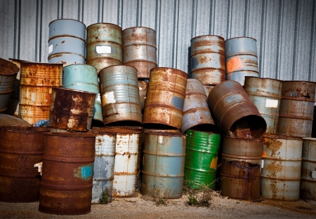 Stacks of Chemical Drums Found At The Farm Stock Photo - 4764546