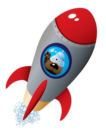 Cartoon Dog Astronaut In Old Style Spaceship Vector