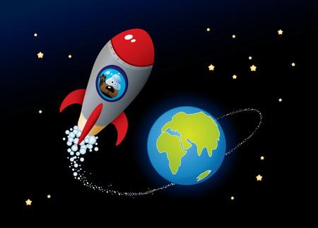 cohetes: Deep Space. Caricatura de imagen vectorial.