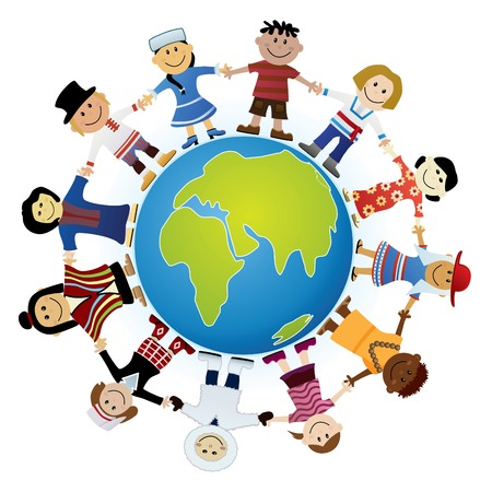 Kids Of The World Illustration Vector