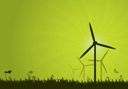 発電機: グリーン電力のベクトルの抽象的な背景
