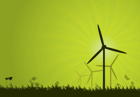 windmills: Green power vector abstract background