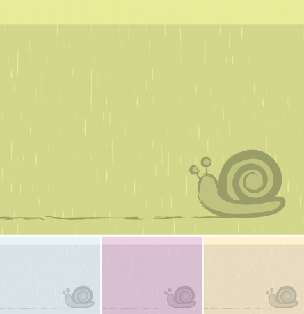 Vector Snail Background. Rainy day Concept.