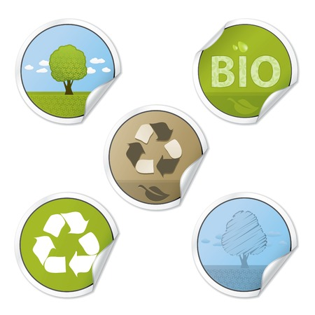 Set Of Ecology Style Vector Stickers Vector
