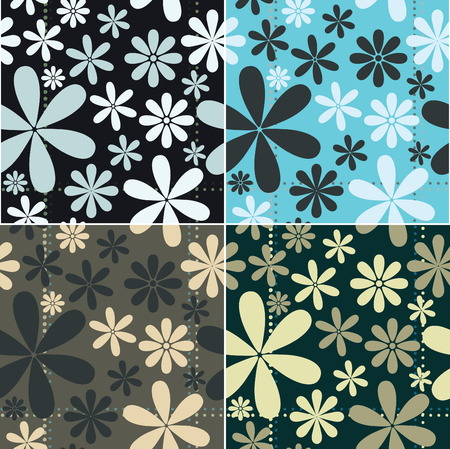 Retro Floral Pattern Seamless Set. retro Collection. Vector
