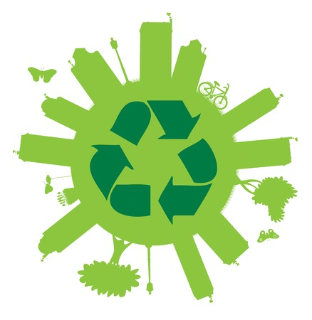 Recycle On The Globe Vector image. Ecology Collection.