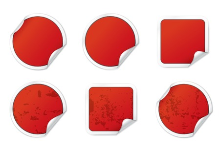 Blank Red Stickers. Vector Stickers Series. Vector