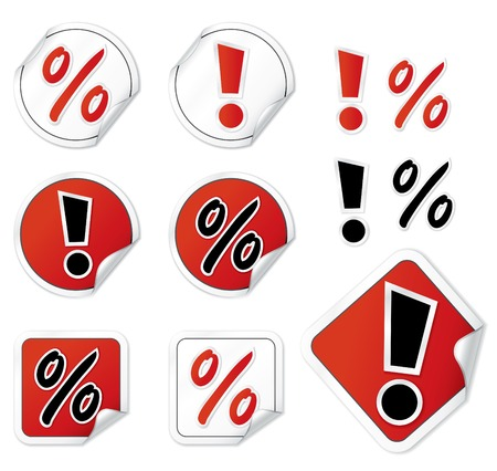 procent: Set Of Shopping Vector Stickers
