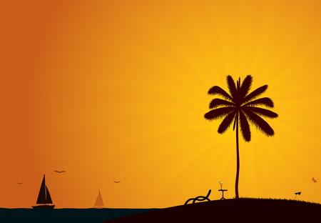 On The Beach Vector Background Vector