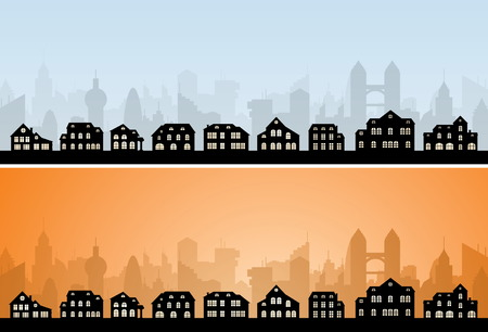 Residental City Skyline. Vector Image. City Collection. Illustration