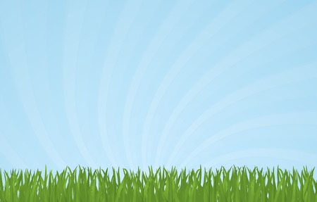 Green Grass And Blue Sky Vector Background Stock Vector - 4997545