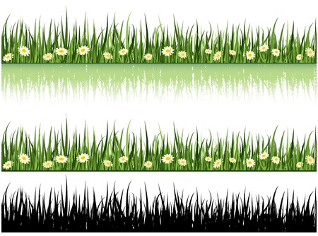 Grass And Flowers Vector Set. Nature Collection Vector