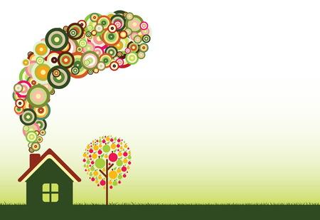 Green Home. ecology Vector Collection. Stock Vector - 4997542