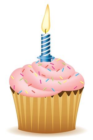 застекленный: Happy Birthday. Cupcake With Candle Vector Image.