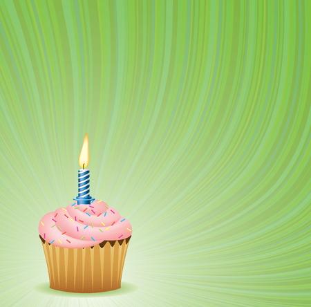 застекленный: Birthday Green Vector Background. Cupcake Collection. Иллюстрация