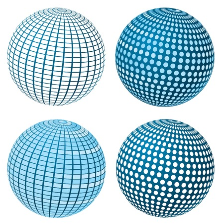 Set Of Vector Blue Spheres Stock Vector - 5088357