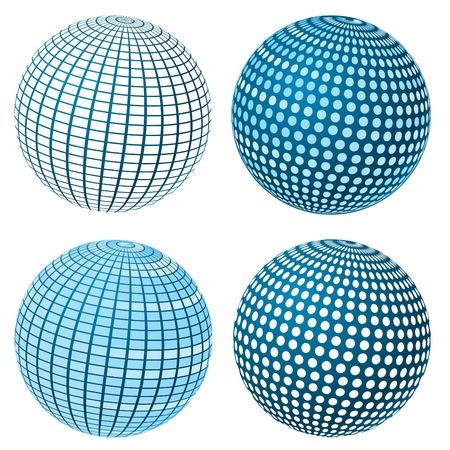 Set Of Vector Blue Spheres Stock Vector - 5088357