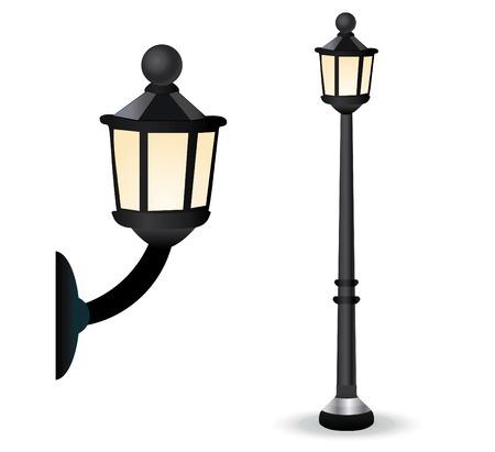 streetlights: Vector Retro Styled Streetlight Set Illustration