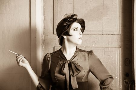 Fashion retro styled woman portrait photo