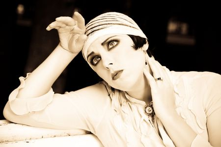 stil zijn: Vrouw close-up. Retrospective Review. 20-s XX Century. Stockfoto
