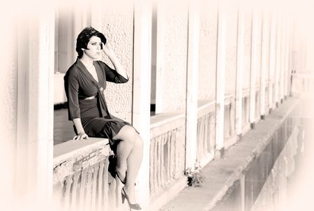 Woman On A Balcony. Retrospective Review. 20-s  XX Century. photo