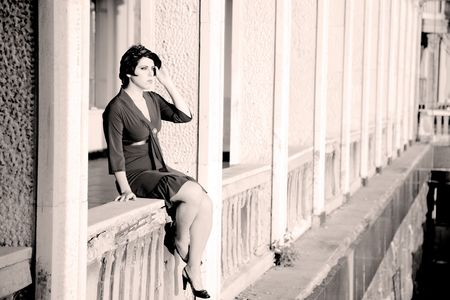 retrospective: Woman On A Balcony. Retrospective Review. 20-s  XX Century.