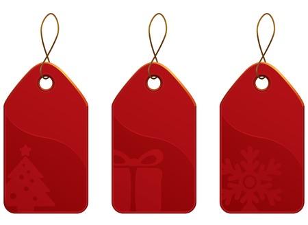 Vector Christmas Red Tag Set. Christmas shopping collection. Vector