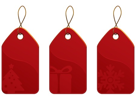 christmas tag: Vector Christmas Red Tag Set. Kerstinkopen collectie.