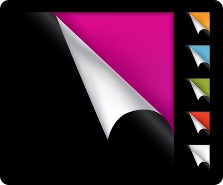 Colorful vector page curled corners on black background Stock Vector - 5558383