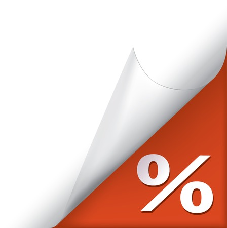 percentage sign: Vector white page curled corner with percentage sign on red
