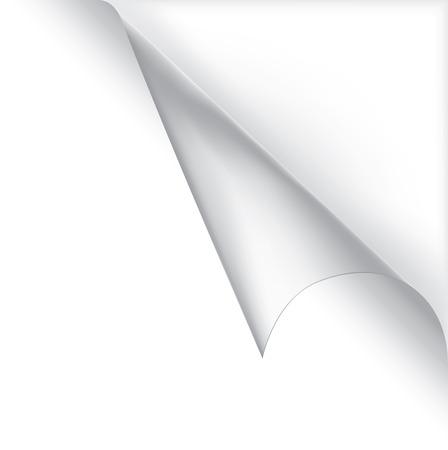 White page vecteur frisés coin. De collecte de papier