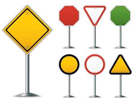 Blank traffic sign set. Easy to edit vector image. Vector