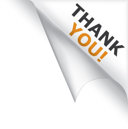 message vector: Vector white page curled corner with thank you message