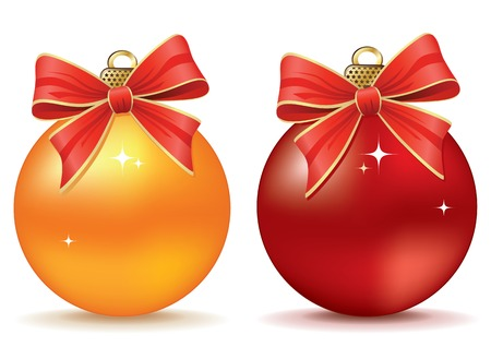 red sphere: set ball christmas. Christmas Collection. Vettoriali