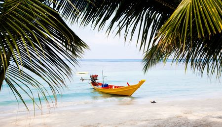 Traditional Longtail Boat. Koh Tao Island. Thailand photo