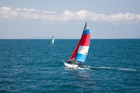 Sailing Boat Yacht Racing At Full Power photo