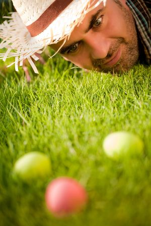 Man looking On The Easter Eggs Stock Photo - 6627937