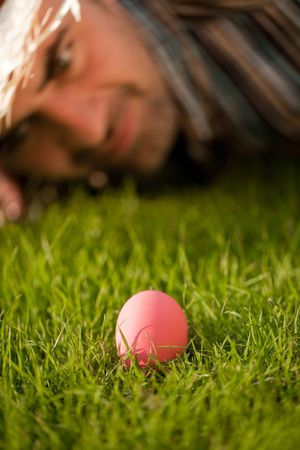 Pink Egg On The Grass Stock Photo - 6627941