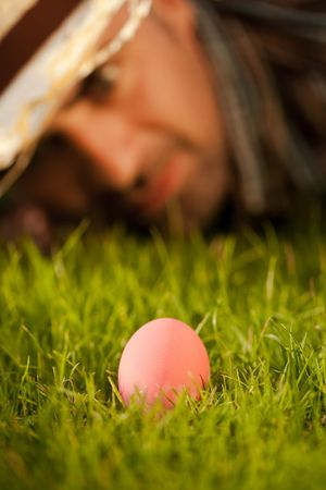 Easter Pink Egg On Grass Stock Photo - 6627939