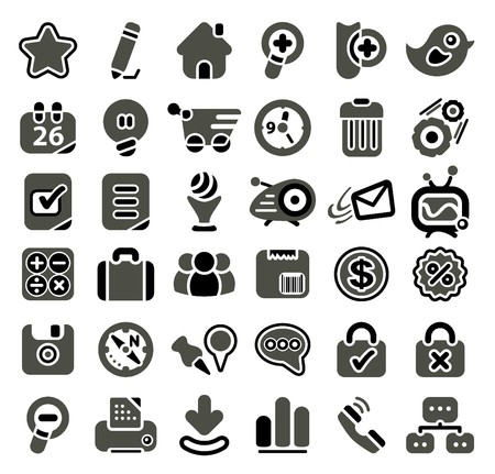 calendar icons: Retro styled web icon set Stock Photo