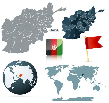 Set of afganistan maps, red flag pin and flag icon. Source: http:www.lib.utexas.edumapsmiddle_east_and_asiatxu-oclc-309296021-afghanistan_admin_2008.jpg http:www.lib.utexas.edumapsworld_mapsworld_pol_2008.pdf Vector