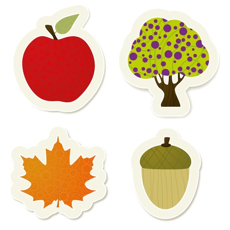 Autumn vector stickers set. Vector stickers collection. Vector
