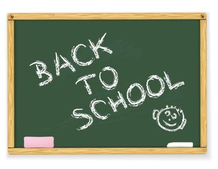 Back to school text on vector blackboard